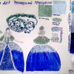 2 место – Вероника, 5а класс. Эскиз женского западноевропейского костюма 17 века