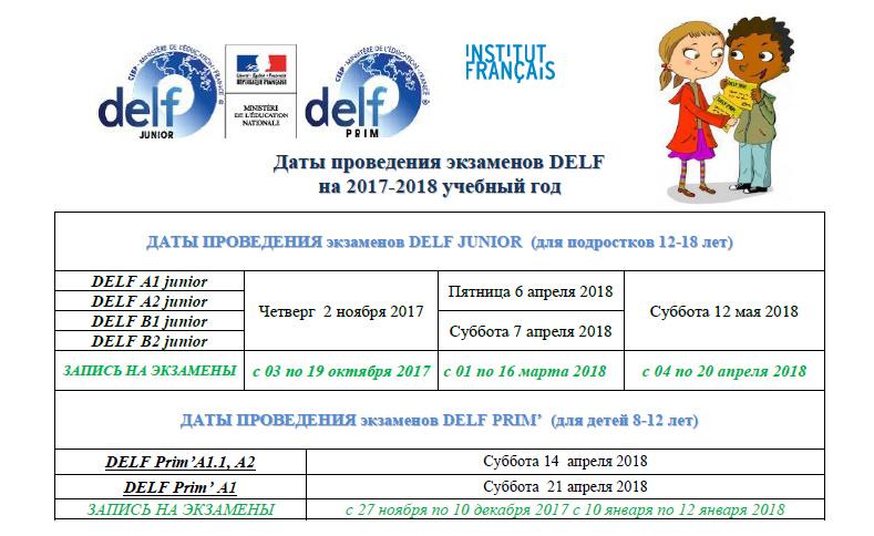 Даты проведения экзаменов DELF