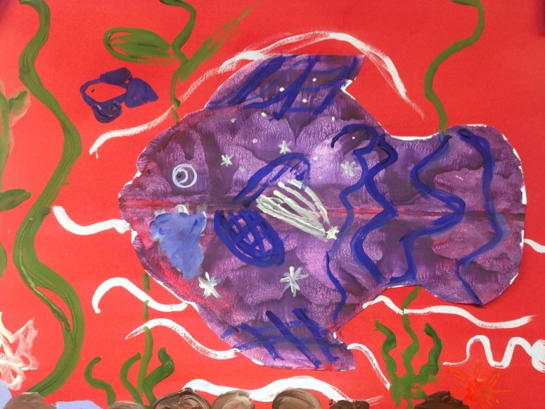 «Красивые рыбы» бумага/гуашь