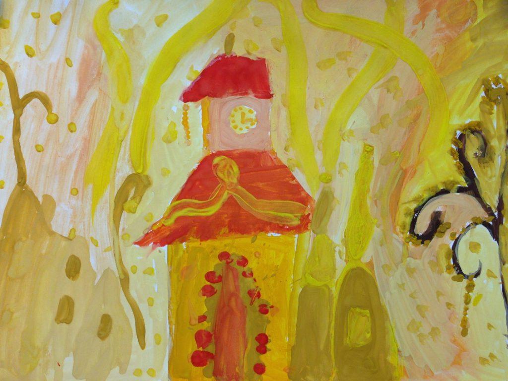 «Дворцы из теплых и холодных красок» бумага/гуашь