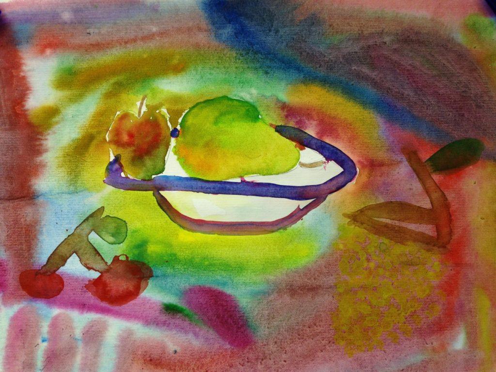 «Натюрморт с грушей» , бумага/акверель