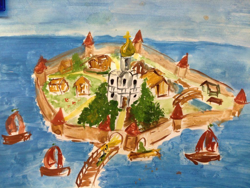 «Город- крепость» бумага/гуашь