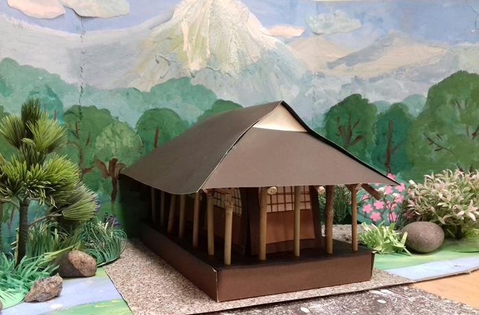 Япония. Национальный пейзаж, макет. Минка, конструирование национального жилища